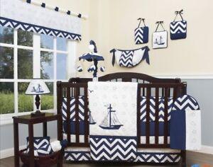 Image Is Loading Boys Crib Bedding Blue Sailboat Nautical Chevron 13