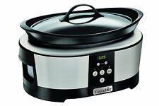 Large Crock-Pot Slow Cooker 5.7 Litre -Polished Stainless Steel Timer Kitchen