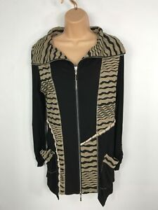 WOMENS-DZHAVAEL-COUTURE-BLACK-BEIGE-ZIP-UP-SOFT-COTTON-CARDIGAN-JACKET-MEDIUM-M