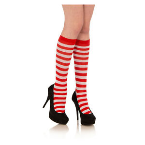 Red-White-Striped-Knee-Socks-waldo-wenda-ELF-Santa-Claus-Christmas-Adult-Child