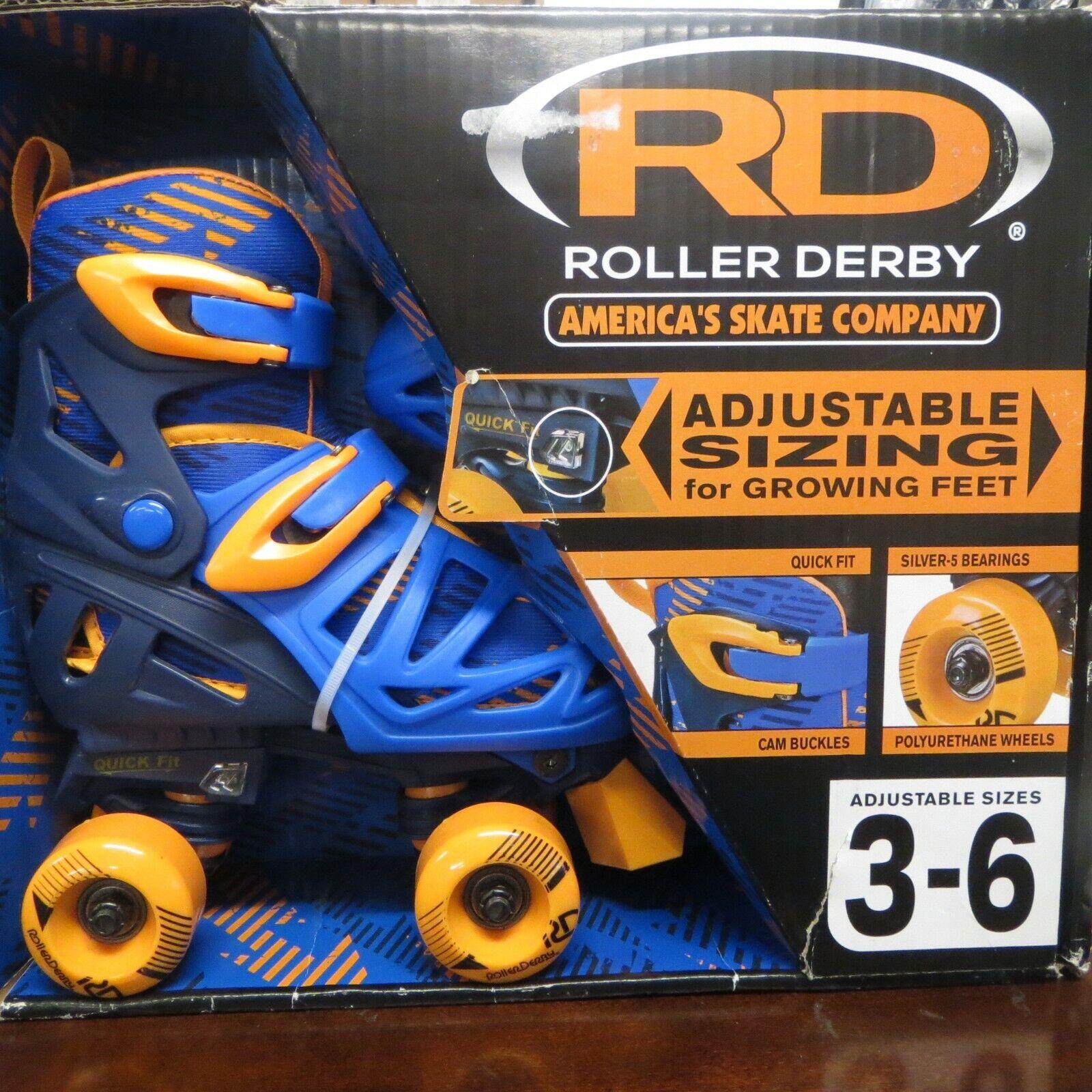 Roller Derby Quad S s adjustable size 3-6 bluee  orange NEW  the latest