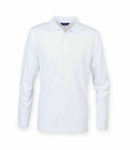 Long Sleeve Coolplus Pique Polo Shirt Henbury Size XS-XXL Various Colours