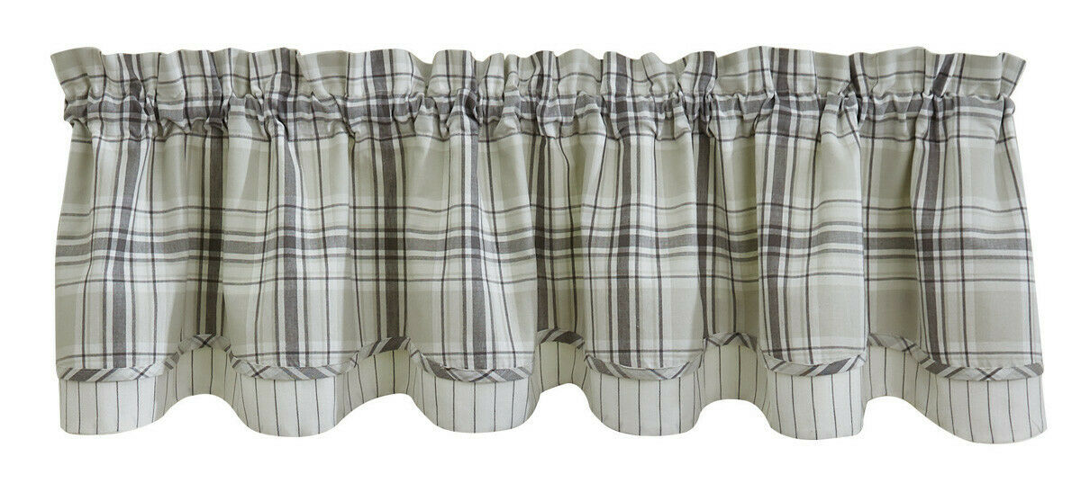 1 Collin Off White Grey Plaid Country Cotton Lined Layered Valance 72 X 16 For Sale Online
