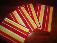 World Market Red & Yellow Straw Summer Stripe (4) Placemats 13 X 19