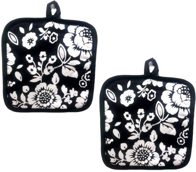 "BH 7/"" x 8/"" w// black back BLACK /& WHITE DESIGN 2 Printed JUMBO Pot Holders"