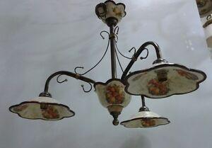 Lampadari In Ferro E Ceramica : Lampadario in ferro battuto e ceramica arredamento e casalinghi