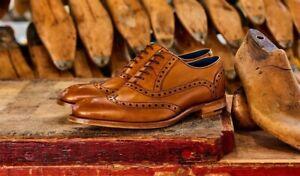 Homme-Fait-a-la-main-Chaussures-en-Cuir-Marron-Bout-D-039-Aile-Richelieu-a-Lacets-up-formelle-robe