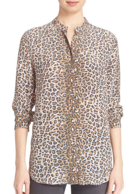 9d03567be158 EQUIPMENT Collarless Reese Clean Cheetah Leopard Print Silk Shirt Blouse  Small S
