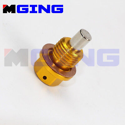 M12 x 1.25 Magnetic Engine Oil Pan Drain Filter Adsorb Plug Crush Washer Blue