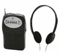Gpx Am Fm Portable Radio Black With Speaker And Headphones Included