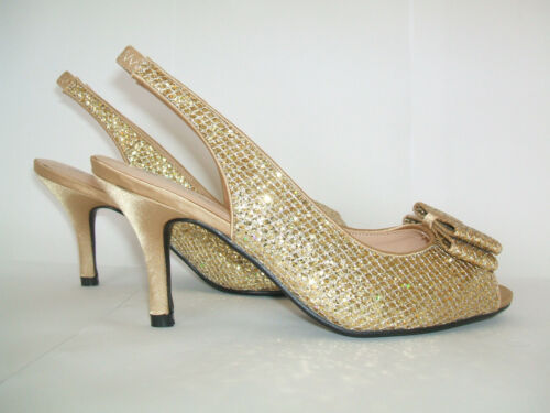 Low Special Glitter Lunar 5 Shoes Occasion Gold Heel 4 3 Size Mid New Slingback 4Bw0qYaBz