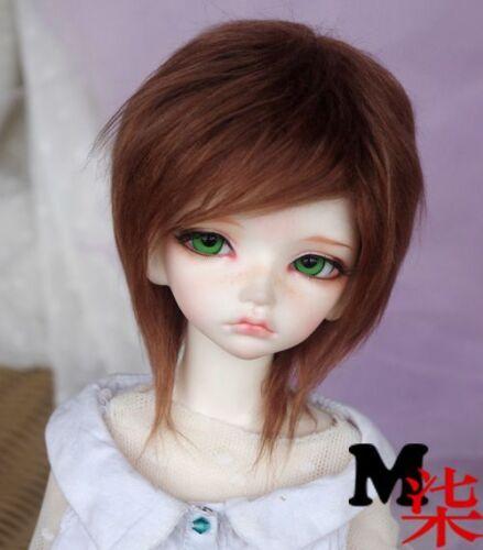 """1//4 7-8/"""" 18-20cm Bjd Bouncier Doll Long Wig Hair Curly Warm Brown Espresso Color"""