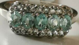 Madagascan-Blue-Apatite-amp-White-Topaz-Sterling-Silver-Ring-Size-N-O-BNWT