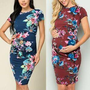 Women-039-s-Maternity-Short-Sleeve-O-neck-Floral-Print-Dress-Pregnancy-Clothes