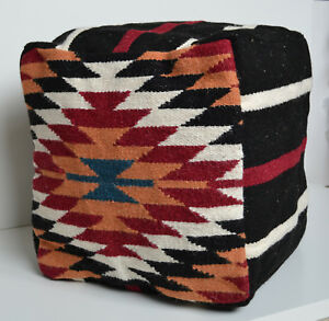 """Wool Kilim Pouffe Cover Beanbag Pouf 40cm 16"""" Cube Hand knotted Ottoman Turkish"""