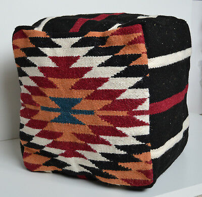 """Home & Garden Conscientious Wool Kilim Pouffe Cover Beanbag Pouf 40cm 16"""" Cube Hand Knotted Ottoman Turkish To Be Distributed All Over The World Bean Bags & Inflatables"""