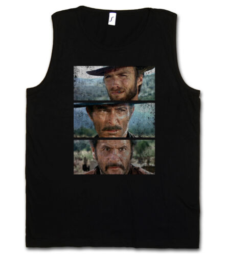 THE GOOD THE BAD AND THE UGLY TANK TOP GYM T-SHIRT Italo Western Eastwood Cowboy