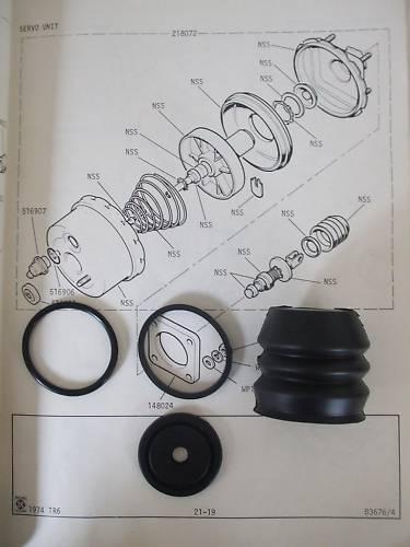 1971-89 Land rover 88 109 110 brake servo réparation sceaux kit
