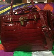 ZENITH Red Croc Leather Quality Satchel Handbag Purse  ~ New ~