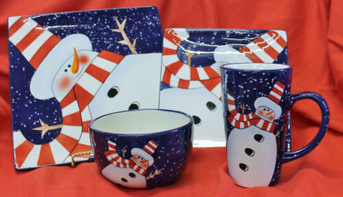 Dansk Holiday Snowman 4 PIECE PLACE SETTING Charlie Zabarte