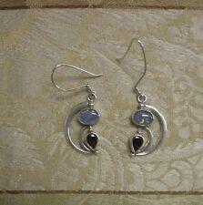 Artisan Sterling Silver Opal Garnet Crescent Moon Goddess Pierced Earrings