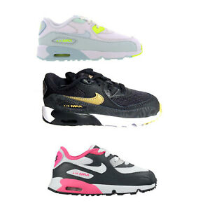 Details about Original Boys Girls Nike Air Max 90 Toddlers TD Trainers Black White Gold Pink