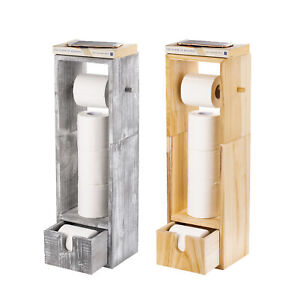 Details About Wooden Paper Rack Toilet Roll Holder Free Standing Bathroom Storage