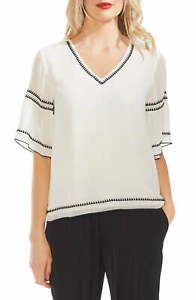 Vince-Camuto-Women-039-s-Blouse-White-Ivory-Size-Medium-M-Embroidered-119-356