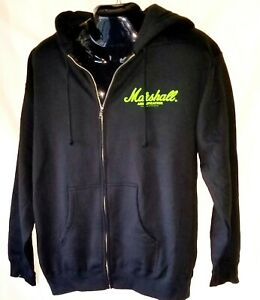 Marshall-Amplification-Zip-Up-Hooded-Sweatshirt-Guitar-amp-co-Mens-Large-blk
