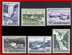ICELAND 1956 DEFINITIVES (key VALUES) SC#289//96 MNH CV$65.00++ WATERFALLS