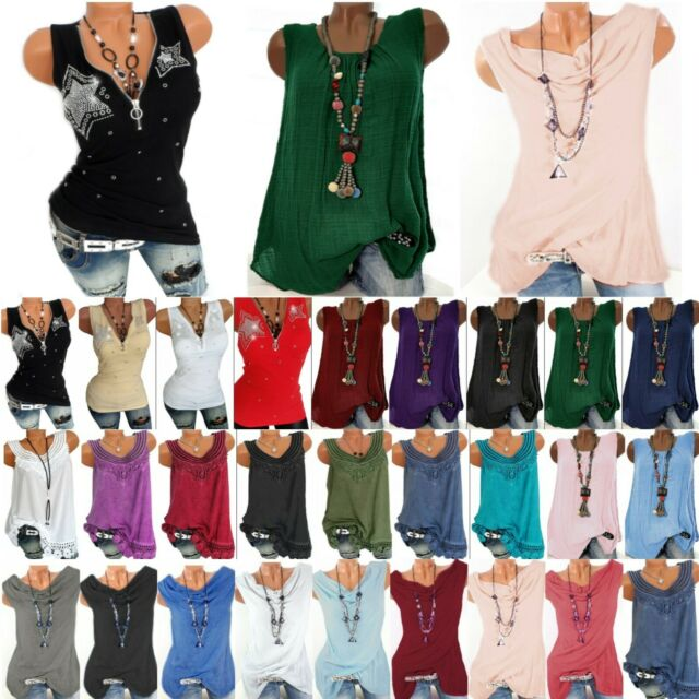Women Summer Loose Tank Top Linen Tunic Casual Vest Camisole Blouse T Tee Shirts