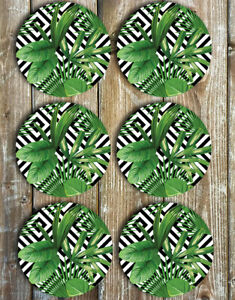 Leaves-and-Palms-Drink-Coasters-Set-of-6-Non-Slip-Neoprene