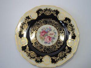 Black-Knight-Hohenberg-Cobalt-Blue-Gold-Floral-Dinner-Plate