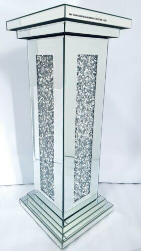 Glitzer Diamant Zerdrücken Kristall Quadratisch Beistelltisch Silber Verspiegelt