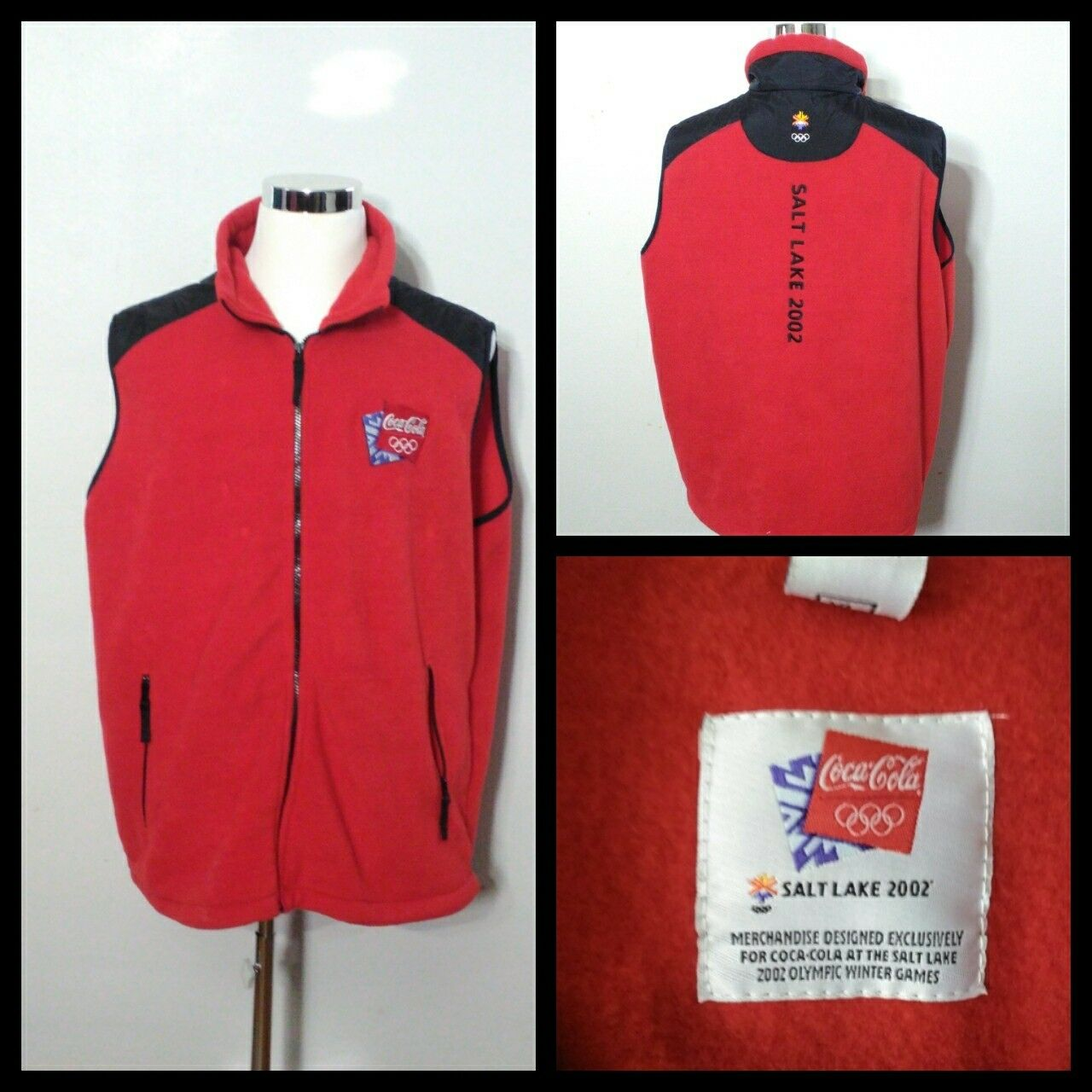 Coca Cola Olympic Vest Men's XL Red 2002 Salt Lake City Olympics Inv S8539