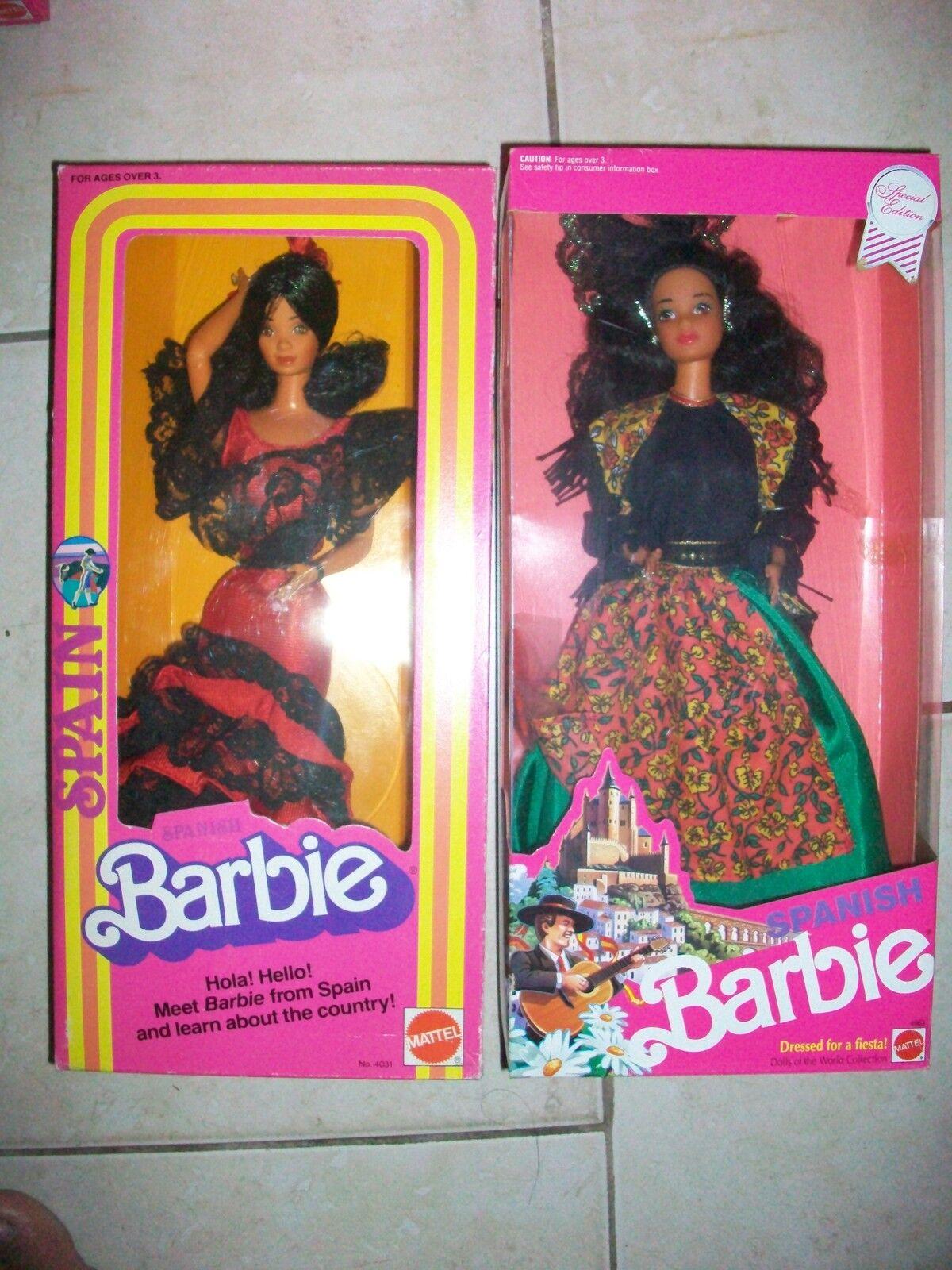 Lote de 2 España Barbie 1980 y muñecas Barbie española del mundo primera edición y 2nd
