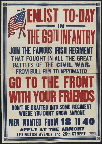 """8/"""" x 10/"""" 1917 Enlist Today,69th Infantry"""