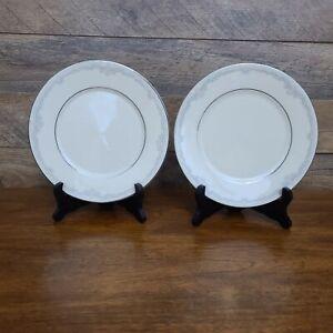 "Set 2 Lenox Cosmopolitan Collection KINGSTON Platinum Rim 8 1/4"" Salad Plates"