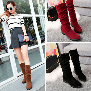 Details about Winter Snow Boots Fashion Lady Work Flat Bottom Shoes Mid  Calf Suede Long Boot