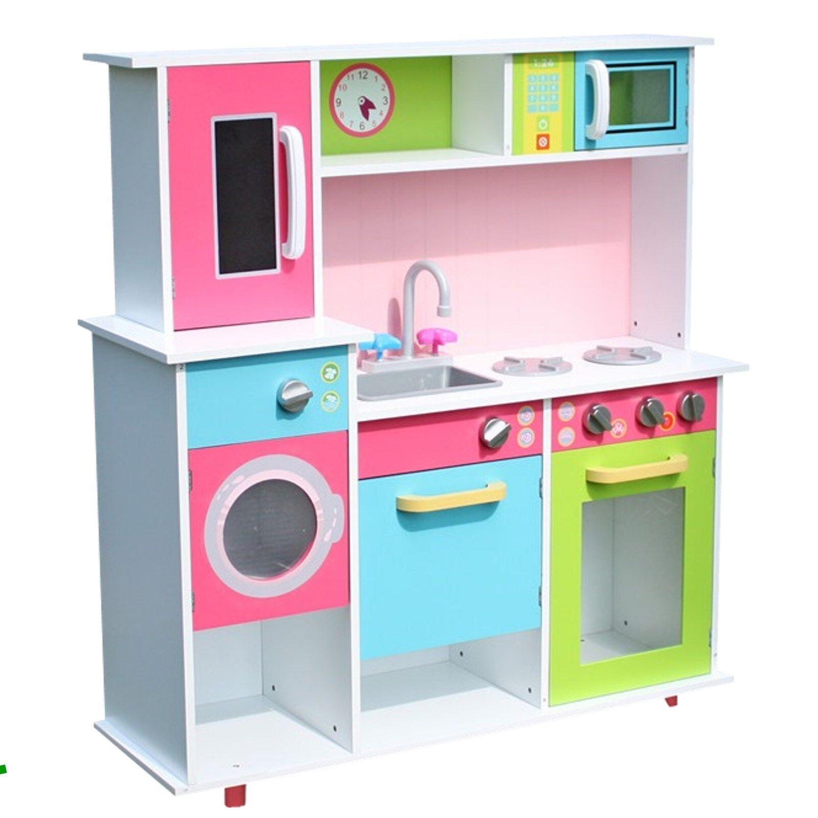 Cucina per Bambini Bianco Colorato Gioco Legno Giocattolo in Microonde Focolare
