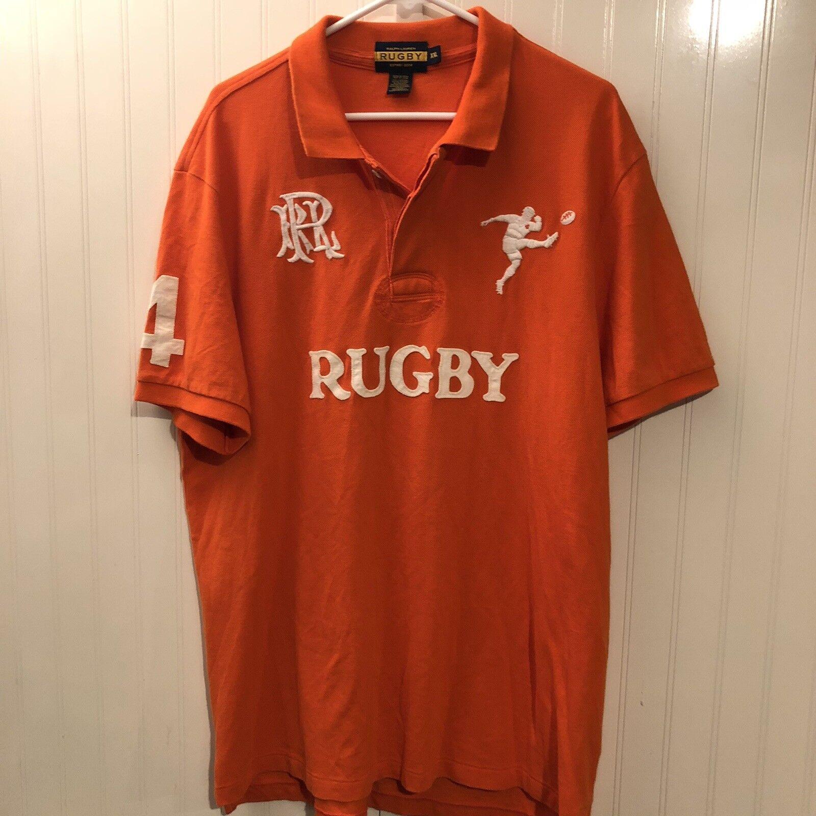 RARE Rugby Ralph Lauren Spellout Polo Shirt Button Up XXL 2xl Vintage