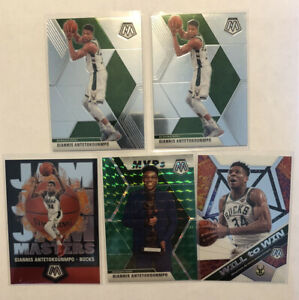 19-20-Mosaic-Basketball-GIANNIS-ANTETOKOUNMPO-Green-Mosaic-Prizm-5-Card-Lot-MVP