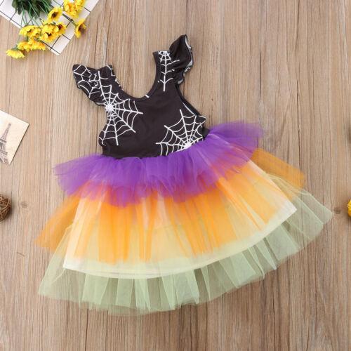 NEW Girls Halloween Spider Web Sleeveless Tutu Dress 2T 3T 4T 5T 6