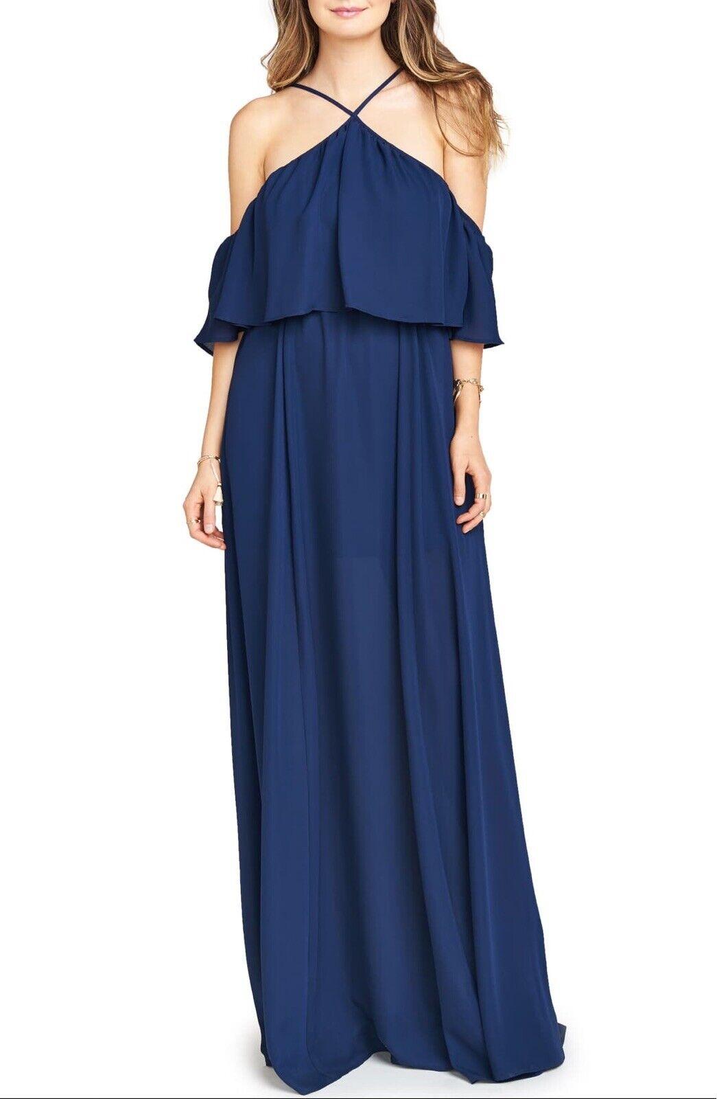 184 Nuevo con etiquetas muéstrame tu Mumu  Rebecca del hombro de gasa Maxi vestido de azul Talla S  minoristas en línea