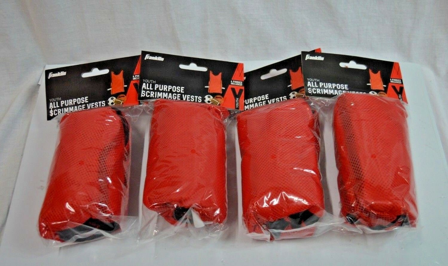 Franklin Youth All Purpose Scrimmage Vests, Red (4 Pk, 16 Pinnies Total)