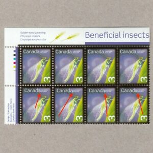 ERROR-Variety-NO-SPACE-Block-of-8-Insects-Canada-2007-2235a-MNH-ec97