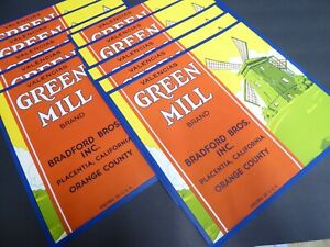 X10 WHOLESALE GREEN MILL CRATE LABEL PLACENTIA DUTCH WINDMILL 1940S VINTAGE