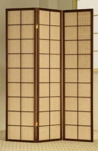 3 Panel Wood Screen Brown Frame Room Divider
