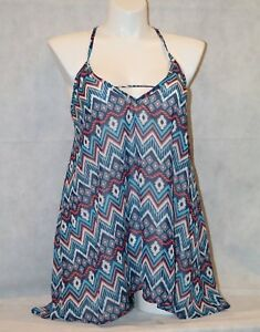 Miken-Tribal-Sheer-Tank-Hi-Low-Beach-Swimsuit-Cover-up-Dress-NWT-14-16-Large-L