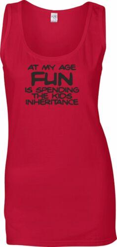 Las señoras Chaleco Top-Rojo-a mi edad divertido es..